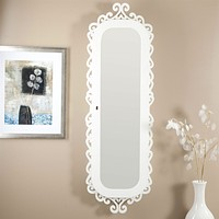 Wall Mounted Jewelry Cabinet Mirror Armoire with Gloss White Scrolling Border