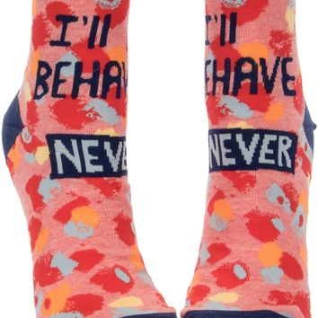 I'll Behave Never Women's Ankle Socks - PRE-ORDER, SHIPS LATE JULY