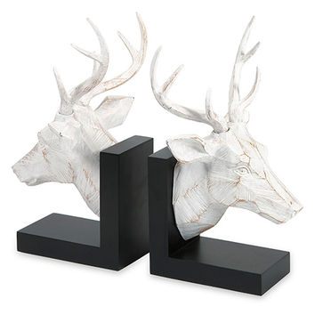 IMAX 53071-2 Joseph Black and White Deer Bookend, Set of Two