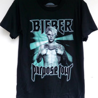 Justin Bieber 2016 Purpose World Tour Tshirt 100% soft Cotton, Rock Music T-Shirt Clothing Unisex T-Shirt