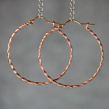 Copper twisted big hoop Earrings Bridesmaid gifts Free US Shipping handmade Anni designs
