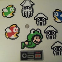 Mario Underwater Perler Bead Magnet Set 9 Pieces by LighterCases