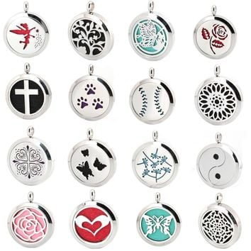 Aromatherapy Essential Oil Stainless Steel Diffuser Necklace Locket  with chain