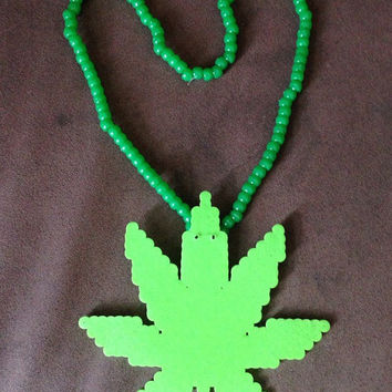 Green Perler Pot Leaf Marijuana 3D Kandi Necklace