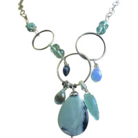 Amazonite Silver necklace Asymmetrical metalwork Gem Bliss