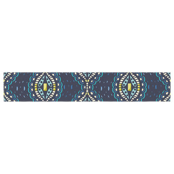 "Suzie Tremel ""Ogee Lace"" Navy Blue Table Runner"