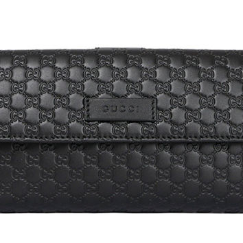Gucci Black Leather Continental Flap Wallet 305282