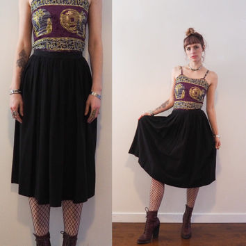 vintage 80's high waisted pleated black rayon skirt // midi length // boho glam goth grunge romantic