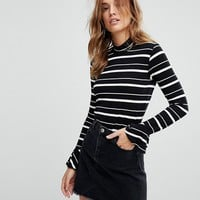 Warehouse Striped Flute Cuff Polo Neck Top at asos.com