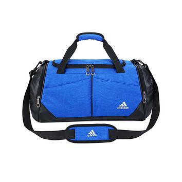 ADIDAS hot selling fashion stitching color large capacity duffel bag for men and women Blue