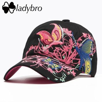 LMFG8W Ladybro Brand Women Hat Cap Female Casual High Quality Butterflies Flowers Spring Summer Cotton Black Cap Embroidery Letter Bone