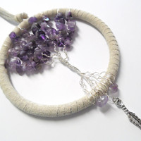 Amethyst tree of life dream catcher, car dream catcher, 3.5 inch ring