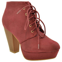 Womens Ankle Boots Lace Up Chunky Heel Faux Leather Platform Shoes WINE