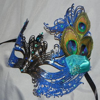 Metal Mask in Royal and Aqua with Peacock Feather Accents
