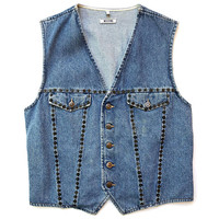 MOSCHINO!!! Vintage 1990s unisex 'Moschino' washed denim button front waistcoat with rivet trims