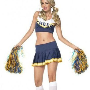 blue Cheerleader Costume Cheer Leader Outfit w/ Pom Poms fancy dress costume