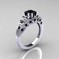 1.52CT BLACK ROUND CUT SOLITAIRE 925 STERLING SILVER ENGAGEMENT RING FOR HER