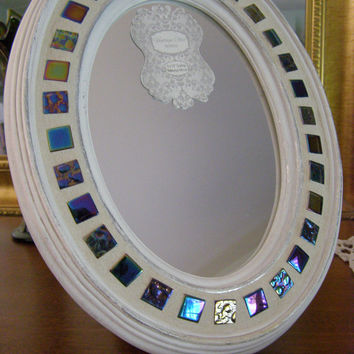 Oval Tabletop Mirror / Mosaic Mirror / 9 x 12 Mirror / Cottage Chic Mirror / Framed Mirror / Gift for Her / OOAK Mirror