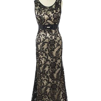 Black Lace Champagne Satin Bow Tie Gown