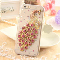 handmade rhinestone  peafowl iphone 6 6 plus case iphone 4s iphone 5s 5c cover samsung galaxy note 4 note 3 note 2 case s3 s4 s5 phone case