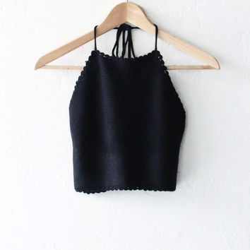 Knit Sweater Halter Crop Top - Black