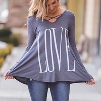 """LOVE"" Graphic X Chest Detail Top (Charcoal)"