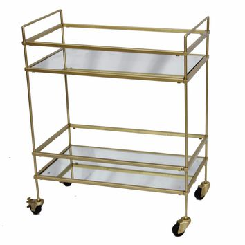 Bar Wine Tea Serving Cart With 2 Tempered Glass Shelves, Gold By The Urban Port