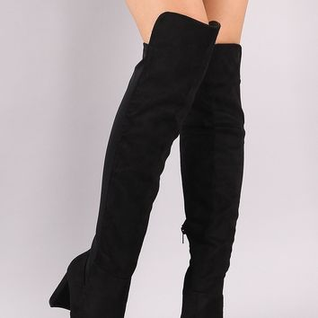 Wild Diva Lounge High Low Chunky Crescent Heeled Boots