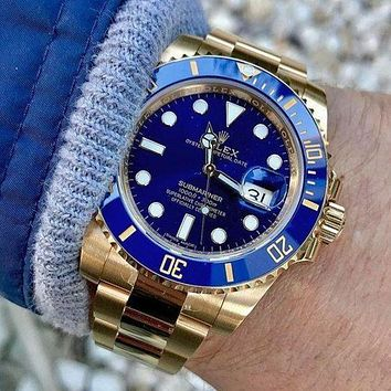 Rolex Stylish Women Men Watch Stainless Steel Movement Wrist Watch Gold&Blue I