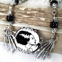 Gothic victorian necklace 'Bride of Frankenstein' halloween zombie goth horror