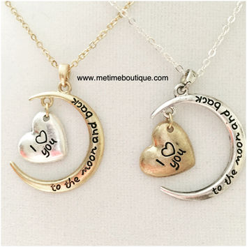 I Love You Cresent Necklace - Gold or Silver