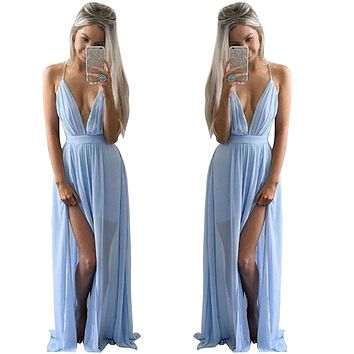 Vestidos 2017 Summer Style Sexy Women Boho Strapless V Neck Chiffon Sleeveless Dresses Casual Loose Long Maxi Solid color Dress
