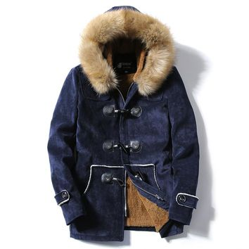 2018 New Winter Men's Jacket-Fur Hooded Collar Coats
