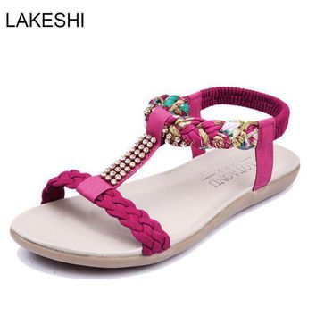 DCK7YE LAKESHI Fashion Women Sandals Flats Ankle-Strap Women Shoes Summer Sandals Ladies Beac