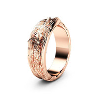 Special Reserved - Twig Design  Wedding Ring 14K Solid Rose Gold Commitment Ring