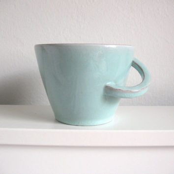 SALE Green Mint Aquamarine Coffee mug Tea cup Ceramic mug Glazed cup Breakfast mug - made to order
