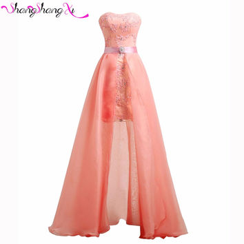 Coral Lace Prom Dresses 2016 Removable skirt Strapless 2 in 1 Organza Homecoming Party Dress Gowns Free Shipping SSX015
