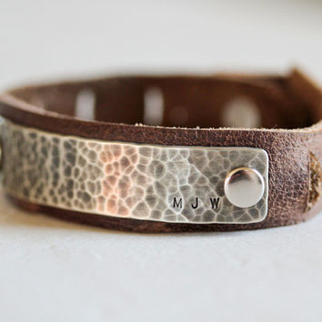 Fathers Day Monogrammed Hammered and Oxidized Adjustable Silver and Leather Bracelet / Unisex / Anniversary Gifts for Men / Urban Rustic