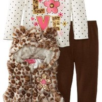Young Hearts Baby Girls' 3 Piece Love Leopard Print Vest Pant Set, Brown, 18 Months