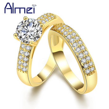 Gold Color Bijoux Zircon Wedding Kunzite Pair Of Rings Chinese Jewelry Anelli Donna Uomo Bague Femme Mariage Berloque KR005