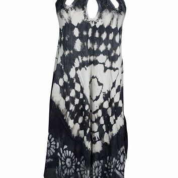 Mogul Interior Womens Cover up Tie-Dye Cutout Neck Flare Boho Dresses S/M (Black,White): Amazon.ca: Clothing & Accessories