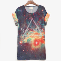 You And Me Galaxy Loose Batwing T-shirt For Her