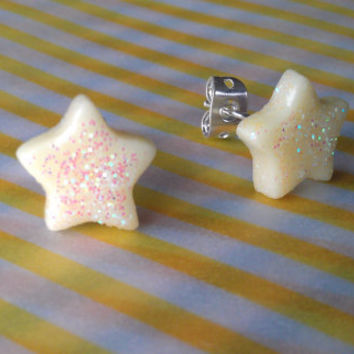 Rave Star - glow in the dark glitter studs - Handmade by Starfall at Dusk