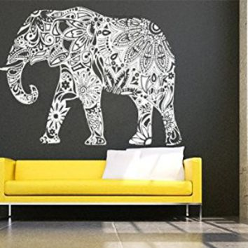 Wall Decals Elephant Floral Patterns Yoga India Patterns Tribal Buddha Ganesh Decal Vinyl Sticker Home Art Bedroom Home Decor Interior Design Art Murals Ms687