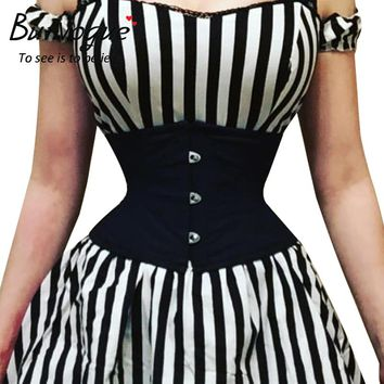 Burvogue Waist Trainer Corsets Slimming Shaper Belt Short Torso Satin Underbust Corset Sexy Lace Up Bustiers & Corsets Women