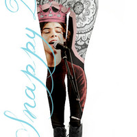 1D Styles Collage Leggings Custom Printed.  Custom printed One direction grunge high quality leggings.  Love One Direction