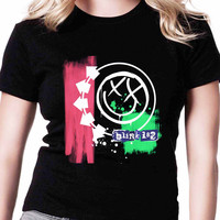 Blink 182 Colorful Smiley Face Square TV Womens T Shirts Black And White