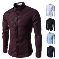 New Pattern Design Slim Fit Men's Fashion Dress Shirt