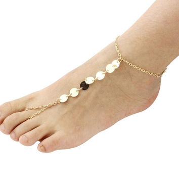 Fashion Designs Summer Beach Gold Alloy Sequins Women Adjustable Barefoot Sandals Anklet Bracelet Chain Feet Jewelry #LYW