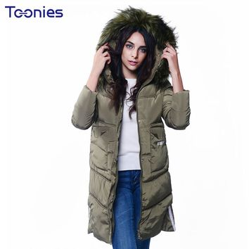 Chaquetas Para Mujer New Fashion Thick Warm Blouson Femme Fur Hooded Winter Jacket Women Letters Printed Zipper Parka Coat